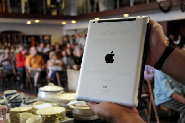 An Apple iPad which belonged to Pope Francis is seen at Castells auction house in Montevideo